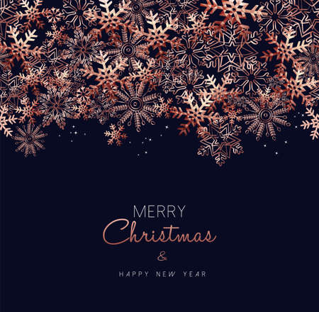 Merry Christmas greeting card design with copper snowflake pattern background for winter holiday season. Zdjęcie Seryjne - 111831444