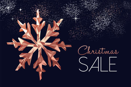 Christmas sale copper winter holiday decoration for seasonal dscount, low poly snowflake on fireworks sky. Ilustração