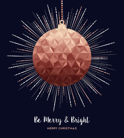 Merry christmas and happy new year fancy copper hanging bauble. Ideal for xmas greeting card or elegant holiday party invitation. Ilustrace