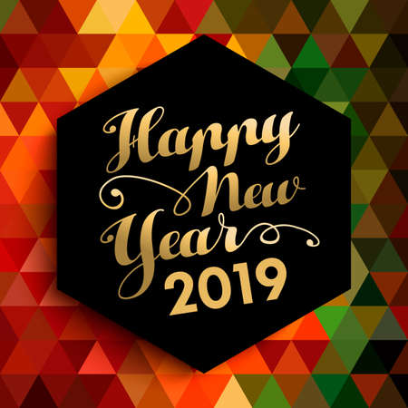Happy New Year 2019 gold lettering label on abstract low poly texture background. 스톡 콘텐츠 - 111831447