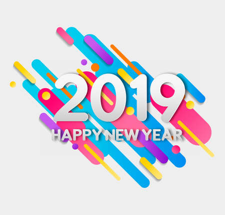 Happy New Year 2019 numbers typography greeting card with flat geometric 2d gradient shapes in motion. Ilustração