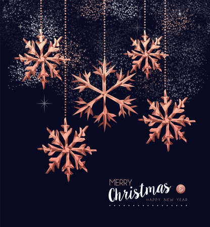 Merry christmas and happy new year fancy copper snowflake in hipster triangle low poly style. Ideal for xmas greeting card or elegant holiday party invitation. Ilustrace