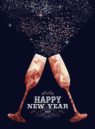 Happy new year 2019 luxury copper glass toast in low poly style. Ideal for holiday card or elegant party invitation. Ilustrace