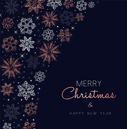Merry Christmas greeting card design with copper snowflake decoration background for winter holiday season. Standard-Bild - 111831451