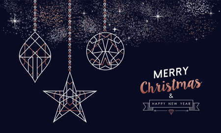 Merry Christmas and Happy New Year abstract deco copper design with ornament in outline style. Ideal for holiday greeting card, poster, campaign or web. Ilustrace