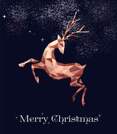Merry christmas fancy copper reindeer in hipster triangle low poly style. Ideal for xmas greeting card or elegant holiday party invitation. Reklamní fotografie - 111831453