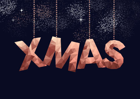 Merry christmas copper typography sign in hipster triangle low poly style. Ideal for xmas greeting card or elegant holiday party invitation. Ilustrace