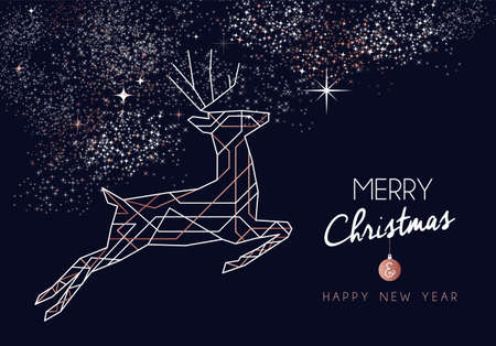 Merry Christmas and Happy New Year abstract deco copper design with reindeer in outline style. Ideal for holiday greeting card, poster, campaign or web. Reklamní fotografie - 113543087