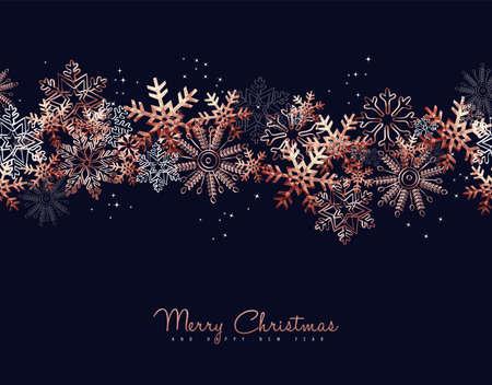 Diseño de tarjeta de felicitación de feliz Navidad con fondo de copo de nieve de cobre para la temporada de vacaciones de invierno.
