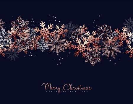 Merry Christmas greeting card design with copper snowflake pattern background for winter holiday season.