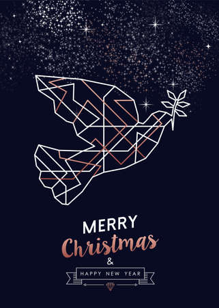 Merry Christmas and Happy New Year abstract deco copper design with dove bird in outline style. Ideal for holiday greeting card, poster, campaign or web.