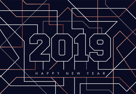 Happy new year abstract deco copper design with 2019 sign in outline style. Ideal for holiday greeting card, poster, campaign or web. Иллюстрация