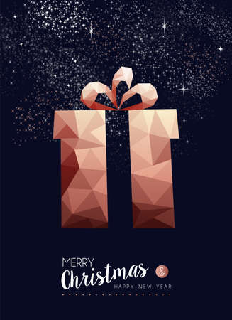 Merry christmas and happy new year fancy copper gift box in hipster triangle low poly style. Ideal for xmas greeting card or elegant holiday party invitation. Reklamní fotografie - 111831502