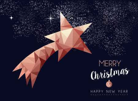Merry christmas and happy new year fancy copper star in hipster triangle low poly style. Ideal for xmas greeting card or elegant holiday party invitation. Illusztráció