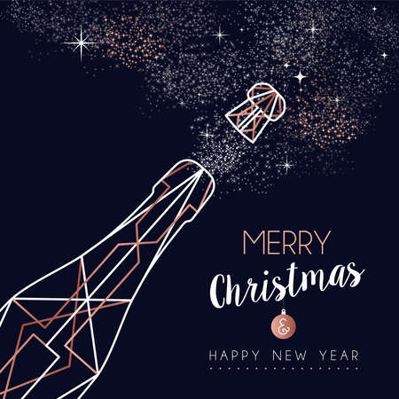 Merry Christmas and Happy New Year abstract deco copper design with champagne bottle in outline style. Ideal for holiday greeting card, poster, campaign or web.