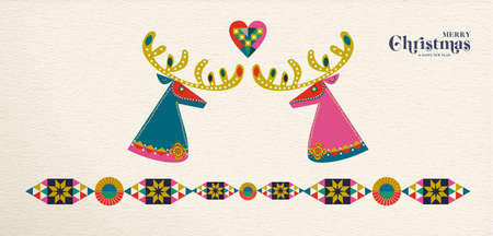 Merry Christmas and Happy New Year folk art web banner reindeer illustration. Scandinavian style deer with traditional geometric shapes in festive colors.