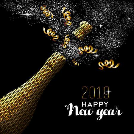 Szczęśliwego nowego roku 2019 luksusowa złota butelka szampana w stylu mozaiki. Idealny na kartkę świąteczną lub eleganckie zaproszenie na przyjęcie.