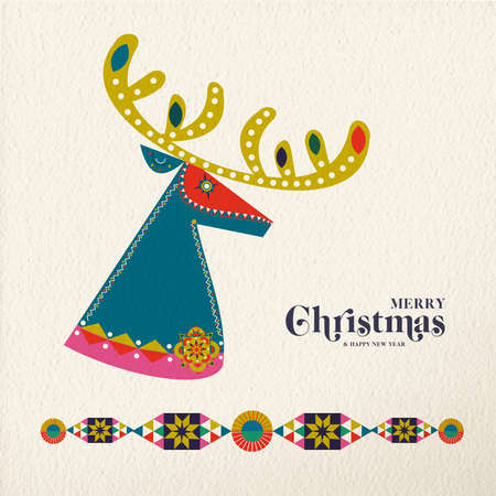 Merry Christmas and Happy New Year folk art greeting card reindeer illustration. Scandinavian style deer with traditional geometric shapes in festive colors.