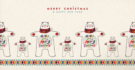 Merry Christmas and Happy New Year greeting card illustration. Cute hand drawn polar bear with winter scarf in festive colors. Illustration