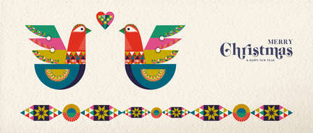 Merry Christmas and Happy New Year folk art web banner bird illustration. Scandinavian style dove with traditional geometric shapes in festive colors.