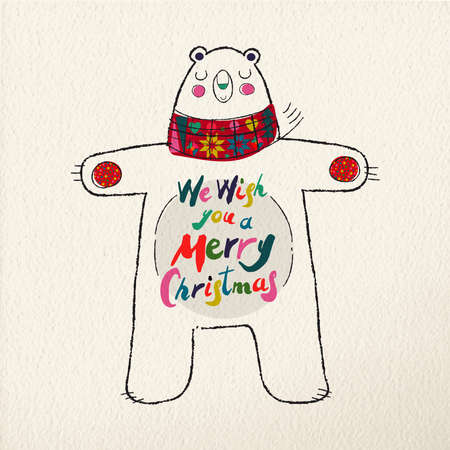 Merry Christmas greeting card illustration. Cute hand drawn polar bear with winter scarf in festive colors.