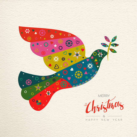 Merry Christmas and Happy New Year folk art greeting card bird illustration. Scandinavian vintage style dove with traditional geometric shapes in festive colors. Vectores