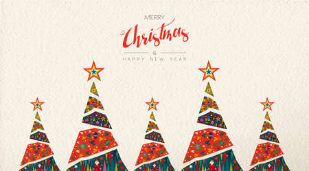 Merry Christmas and Happy New Year folk art greeting card illustration. Scandinavian style xmas pine tree with traditional geometric shapes in festive colors.