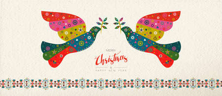 Merry Christmas and Happy New Year folk art web banner bird illustration. Scandinavian vintage style dove with traditional geometric shapes in festive colors. Illustration