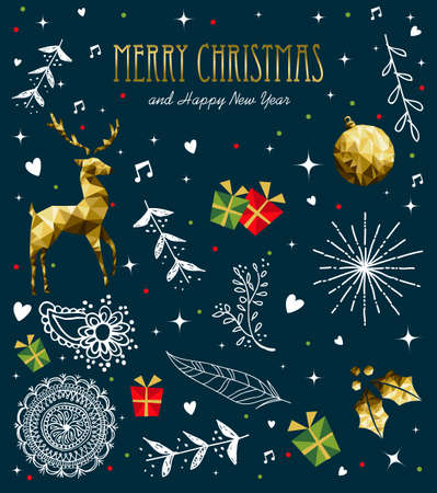 Merry Christmas greeting card with new year text quote and gold luxury decoration. Includes deer, xmas ornament, holly leaf. Banque d'images - 112128837