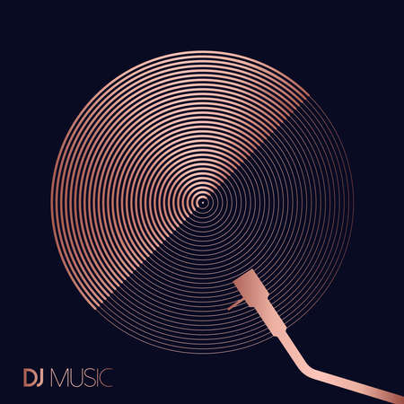 DJ music concept in geometric line art style with modern vinyl record design in luxury copper color. Illustration