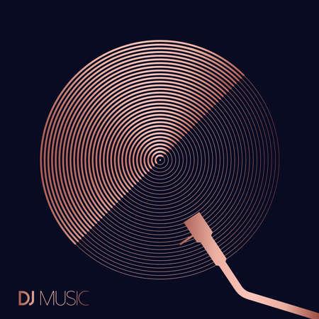 DJ-Musikkonzept im geometrischen Linienstil mit modernem Vinyl-Schallplattendesign in luxuriöser Kupferfarbe. Vektorgrafik