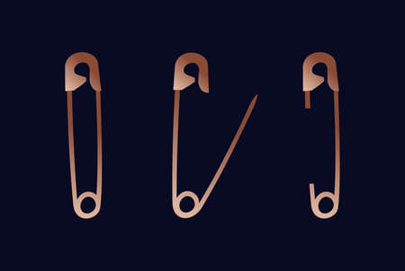 Set of safety pin with isolated background in luxury copper color.