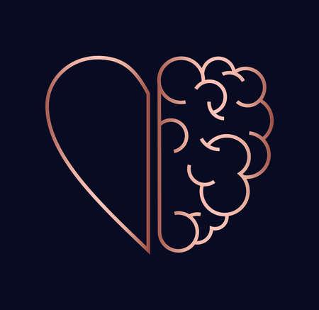 Herz und Gehirn arbeiten als Teamkonzeptdesign, moderne Illustration der flachen Linienkunst in luxuriöser Kupferfarbe.