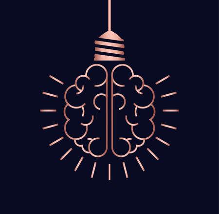 Bright ideas simple concept design, luxury copper color human brain as light bulb lamp in clean modern line art style. Standard-Bild - 113543102