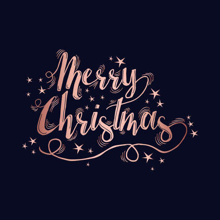Merry christmas luxury copper quote design with stars and sparkles. Xmas calligraphy text for poster or holiday greeting card. Ilustrace