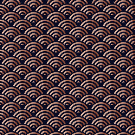 Élégante vague abstraite orientale en cuivre sans soudure de fond en couleur bronze.
