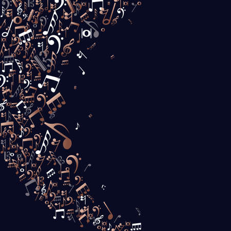 Copper music notes isolated background. Musical symbols splash illustration concept.