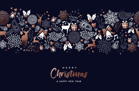 Joyeux Noël bonne année décoration de motif en cuivre avec des ornements de cerf, de nature et de vacances.