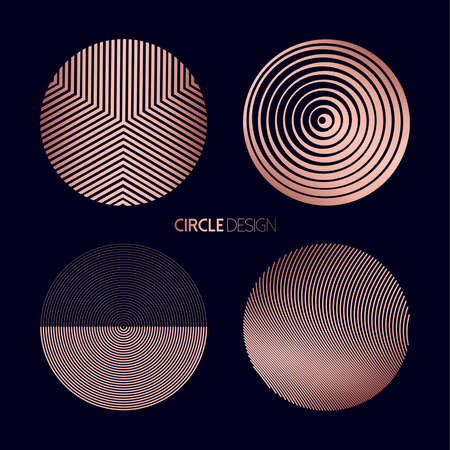 Modern circle set of geometry shapes with lines and abstract designs in luxury copper color, futuristic style symbols.