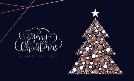 Joyeux Noël et bonne année carte de voeux de cercles de cuivre en forme de pin. Vecteurs