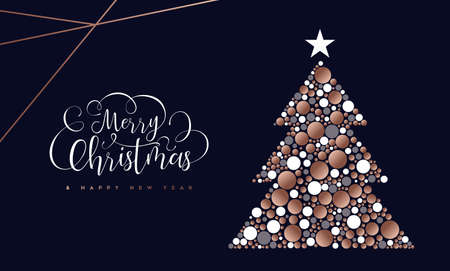 Merry Christmas and Happy New Year greeting card of copper cirlces making pine tree shape. Standard-Bild - 113543109