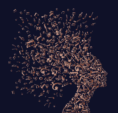 Music notes splash from woman's head illustration in luxury copper color.