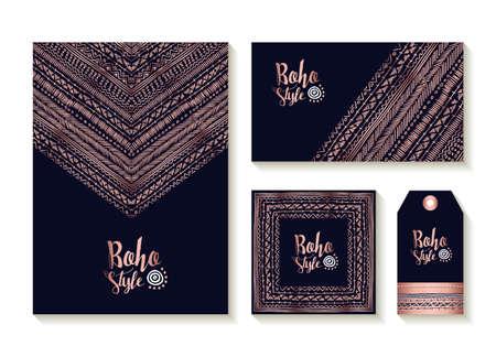 Colección de estilo boho de tarjetas, etiquetas y plantillas de etiquetas con lindos diseños de arte tribal hechos a mano en color cobre de lujo.