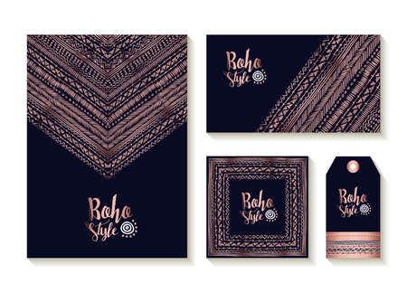 Boho style collection of card, label and tag templates with cute handmade tribal art designs in luxury copper color.