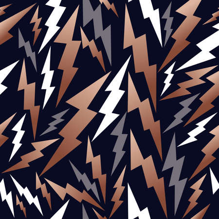 Fancy copper retro 80s fashion seamless pattern thunder bolt ray illustration background. Ideal for greeting card design, print or web.