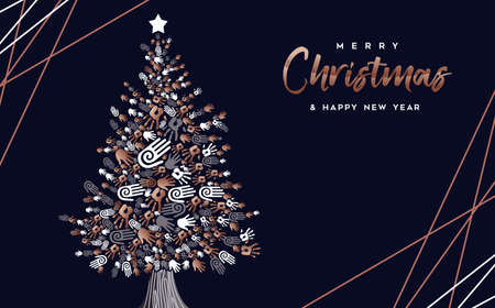 Merry Christmas and Happy New Year greeting card of copper hand prints making pine tree shape.