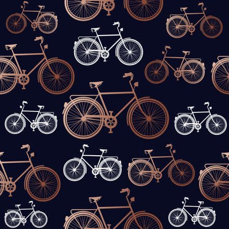 Copper bike seamless pattern, elegant concept design with bicycle silhouette in bronze color.