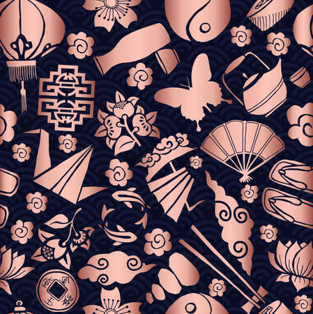 Chinese New Year seamless pattern, concept background with traditional asian culture icons in copper color. Ilustrace