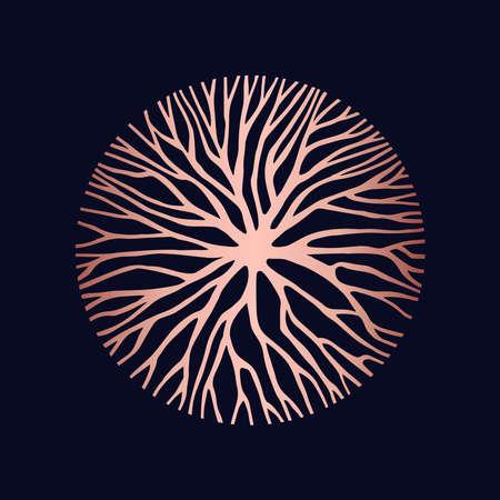 Ilustración de forma de círculo de cobre abstracto de ramas de árboles o raíces para el diseño de concepto, arte de la naturaleza creativa.