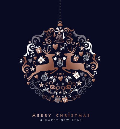 Merry Christmas Happy New Year greeting card design, holiday elements and reindeer in copper color making bauble ball ornament shape silhouette.